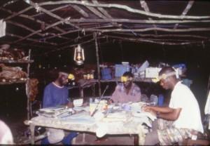 電気のないキャンプで夜データ整理をする研修中のコンゴ人若手研究者@西原智昭