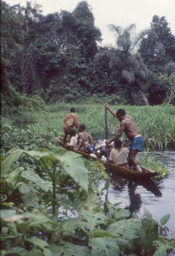 写真246:国立公園内の川幅の狭い川を渡る丸木舟©西原智昭